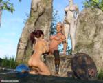 Having fun under Golden Dick Statue