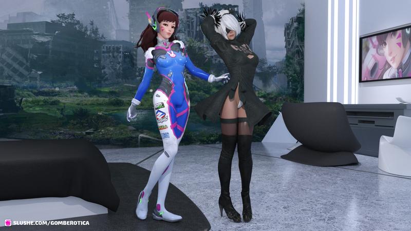 D.Va Dickgirl & YoRHa 2B Lesbian Fun