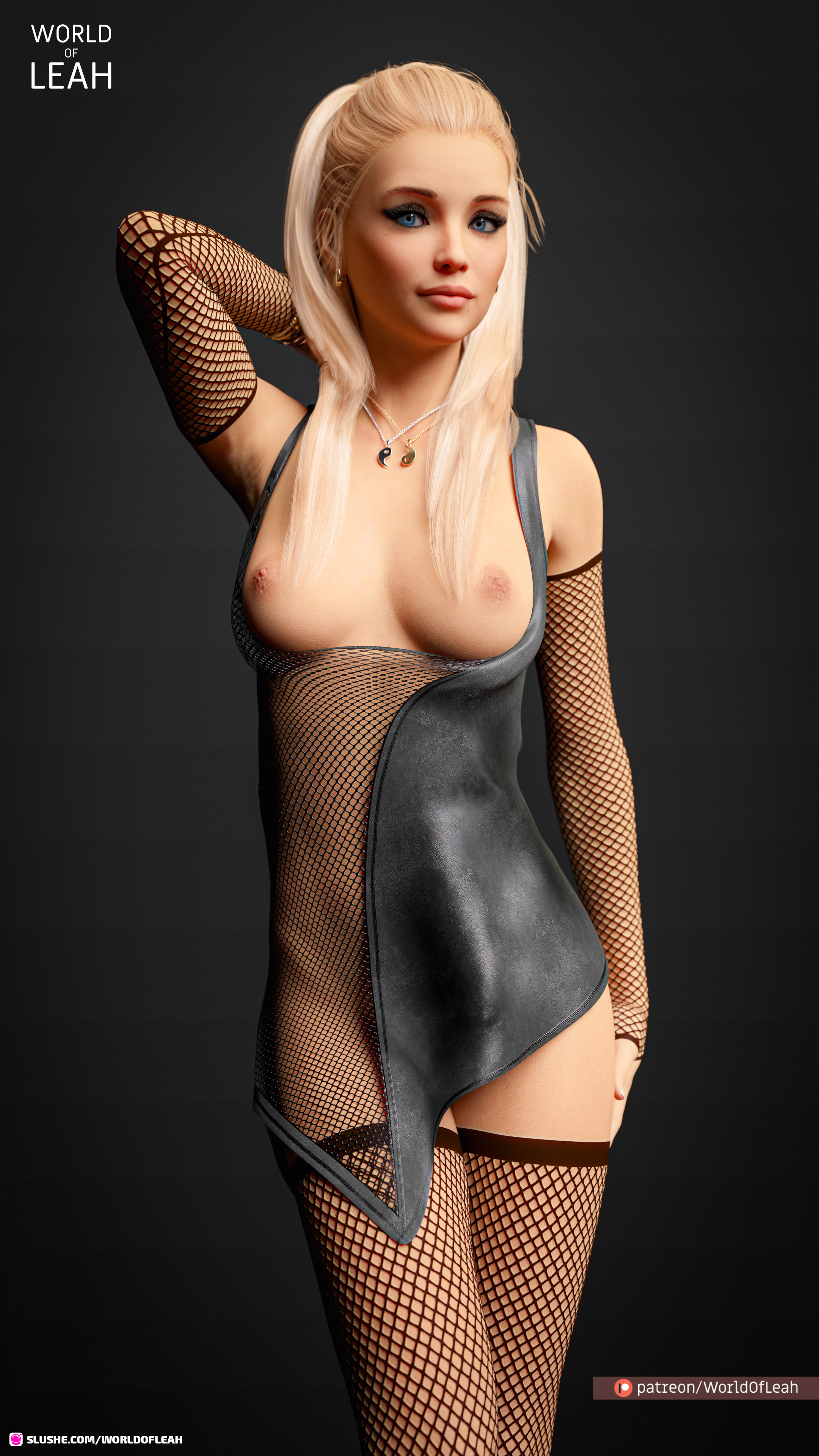 Allison in some sexy leather & net lingerie
