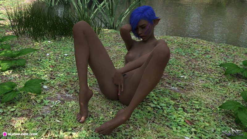 Morganna - Elf playing by the pond