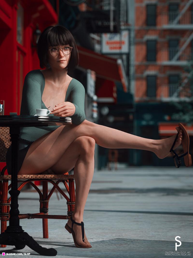 Clara Lambert Outside a Café