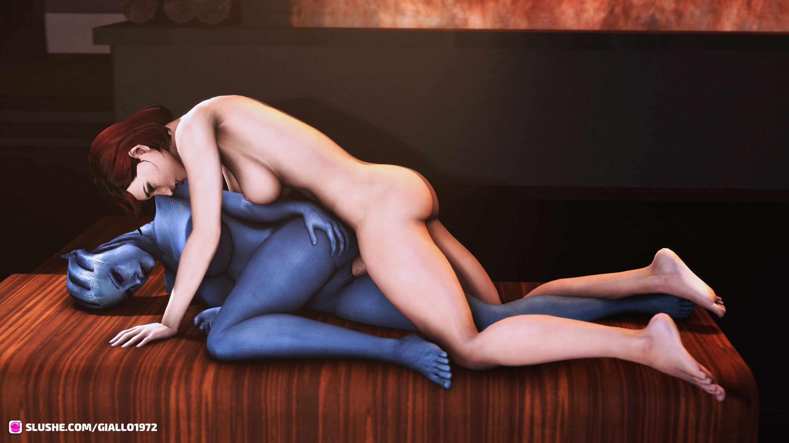 Femshep & Liara Making Love By The Fire.
