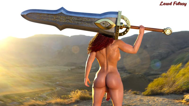 Alexis with her huge sword