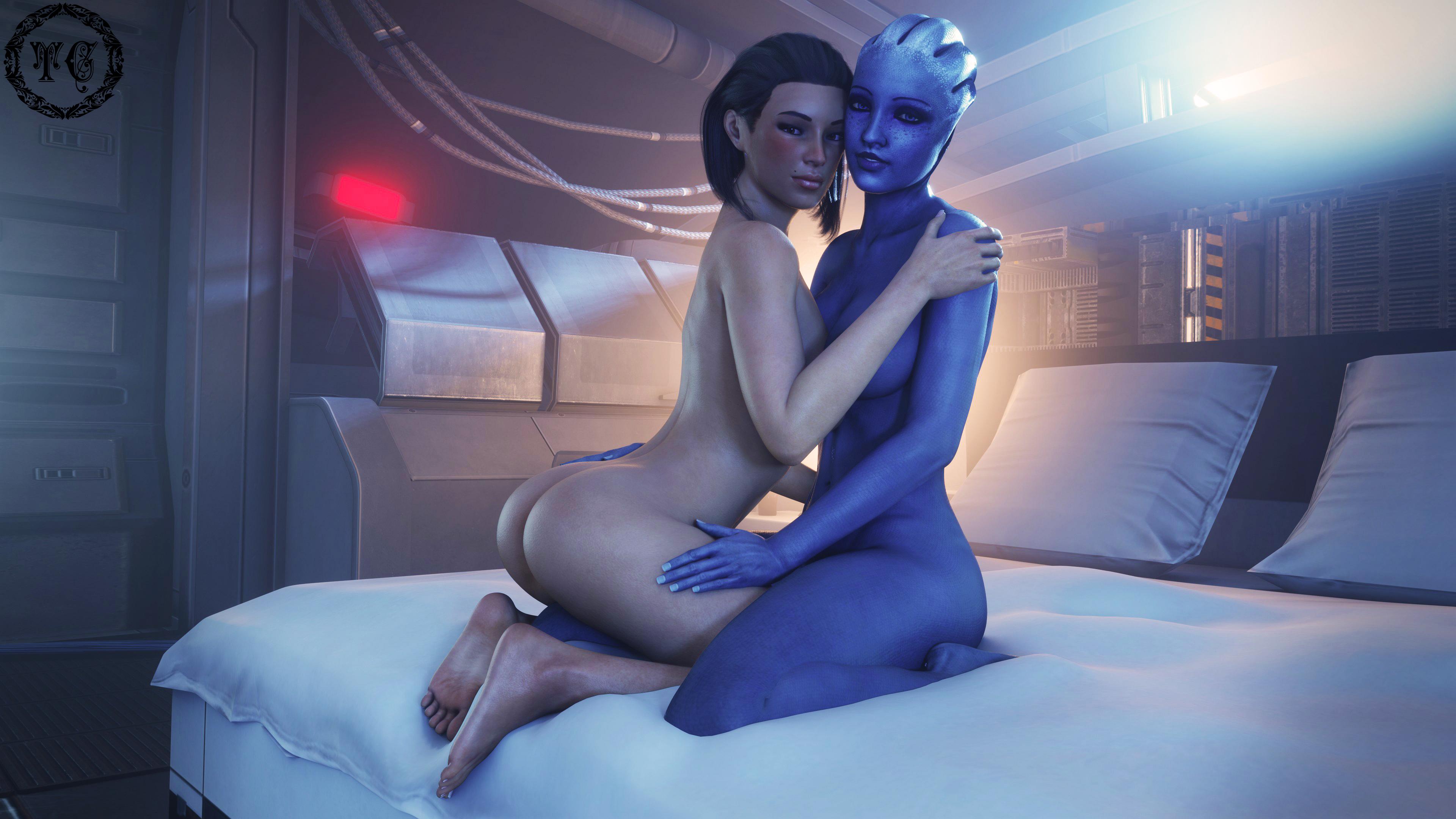 Eva & Liara - Captain's Quarters