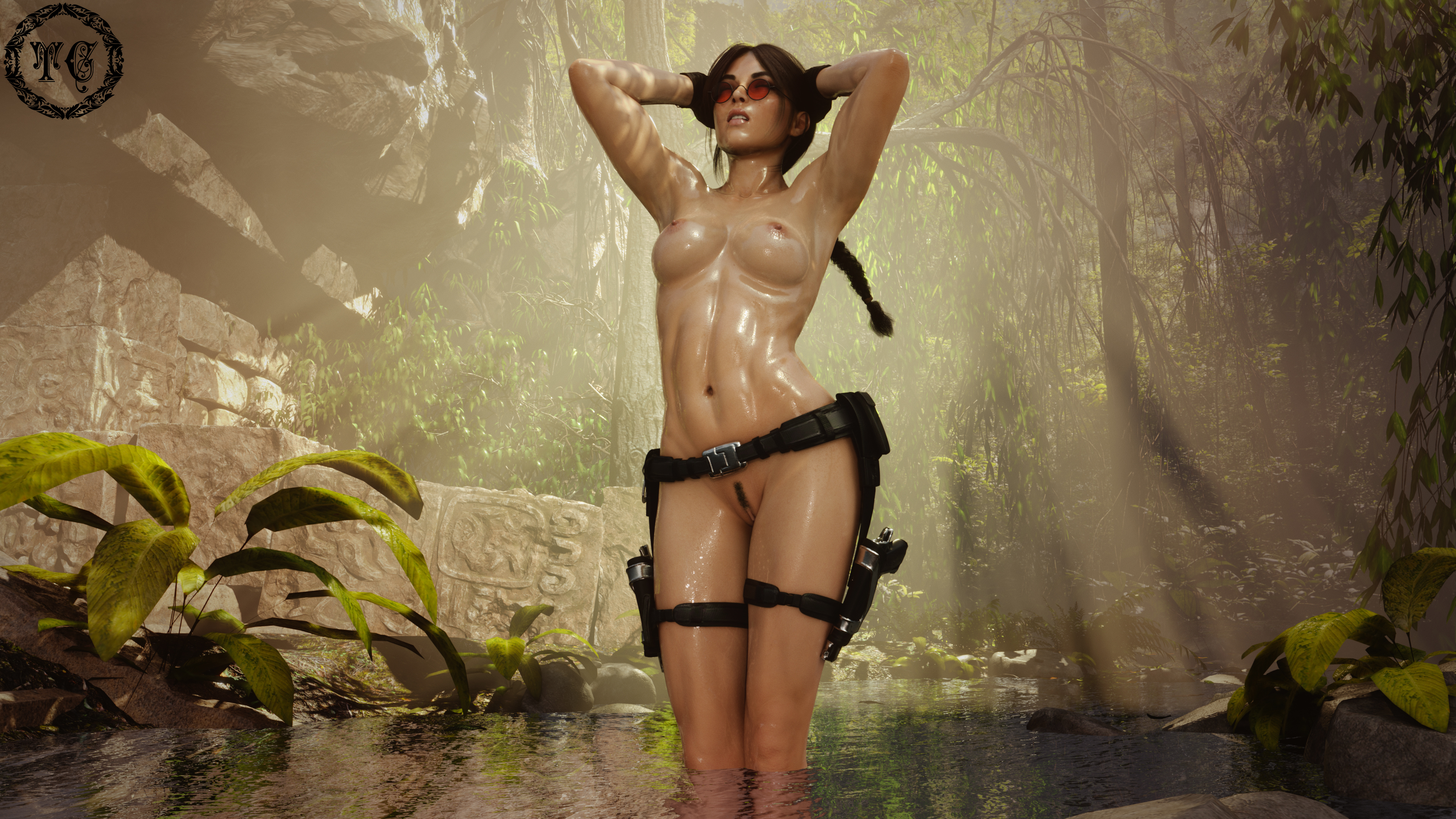 Lara Croft - Cooling off in the rain forest