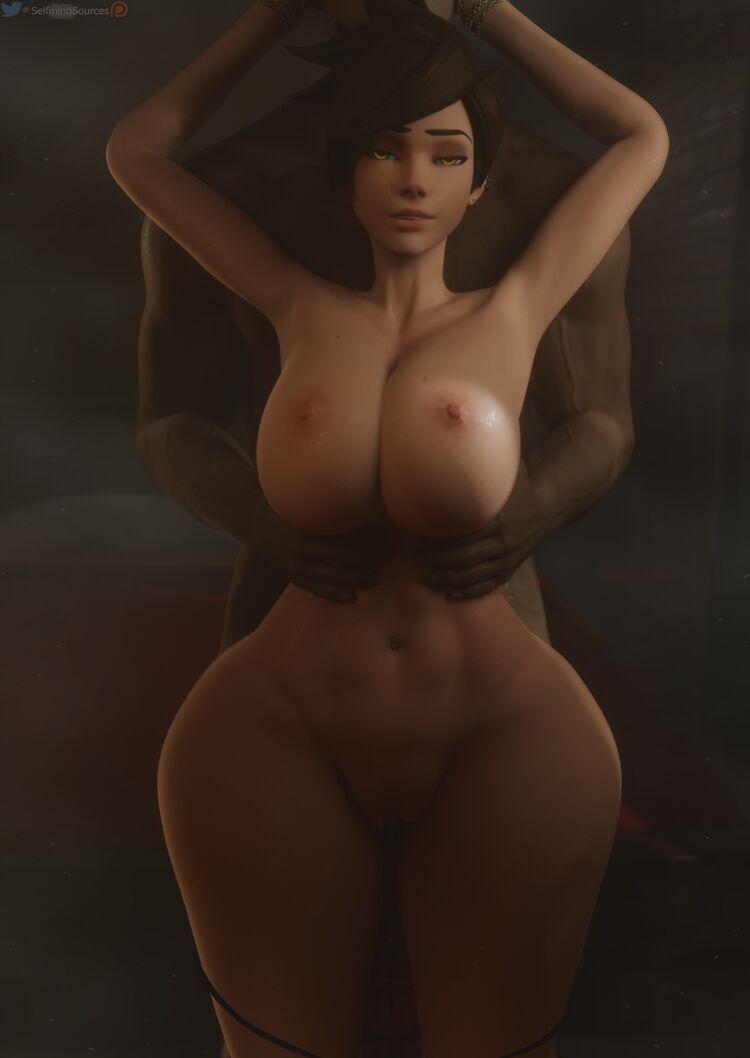 Groping Tracer's huge boobies