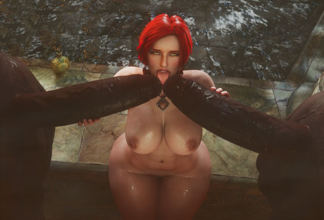 Triss teasing the massive cocks at the bathhouse