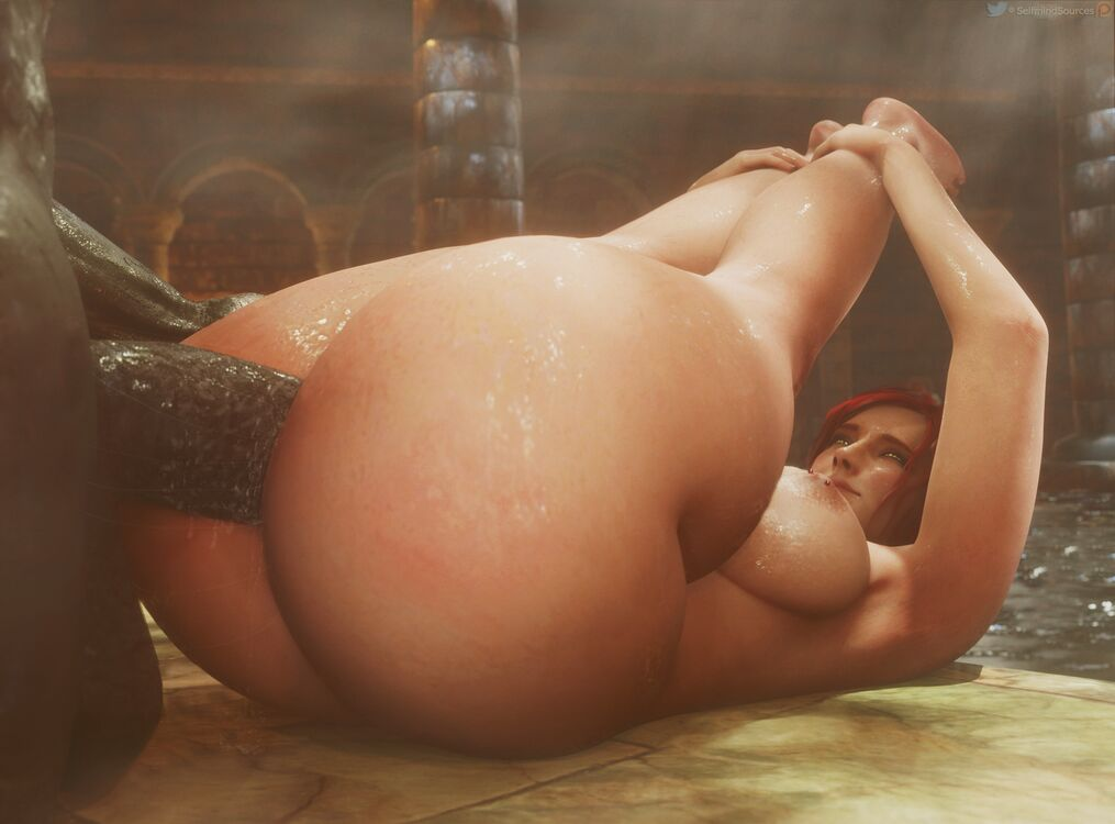 Thicc Triss taking a big fat cock up her ass