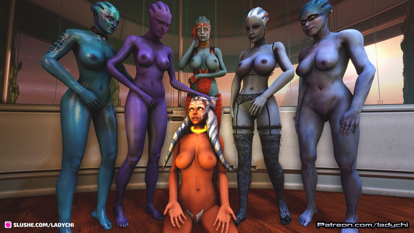 Ahsoka from Starwars is captured by a gang of asari! Part 1