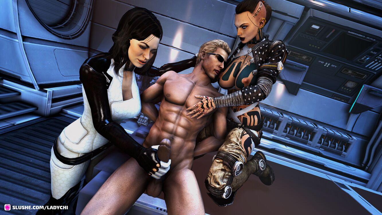 Wesker captured by Mass Effect girls