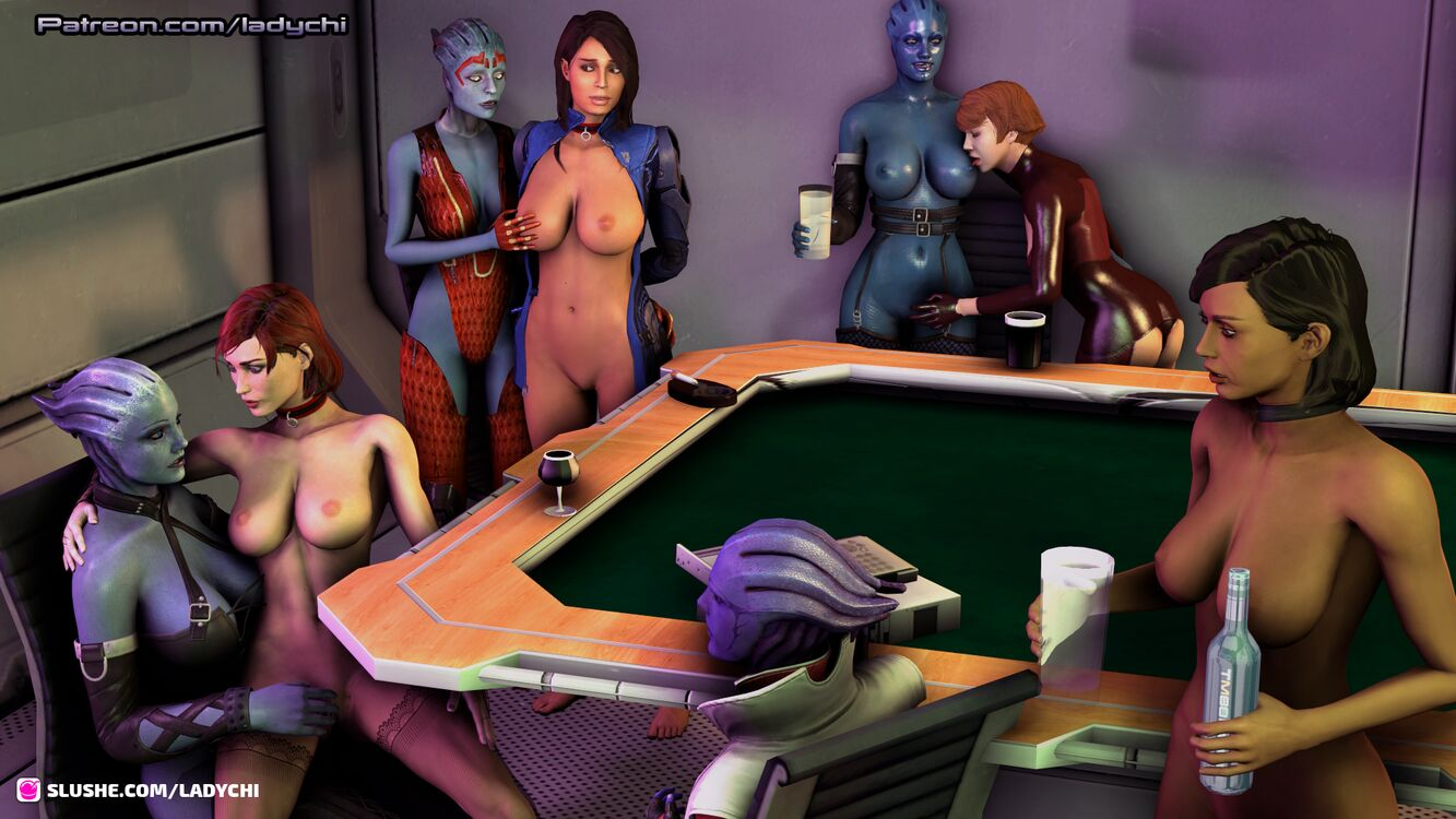 Asari and their humans slaves part 1. The Asari own the human girls.