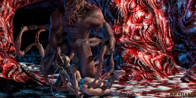 Alien tentacle double penetration