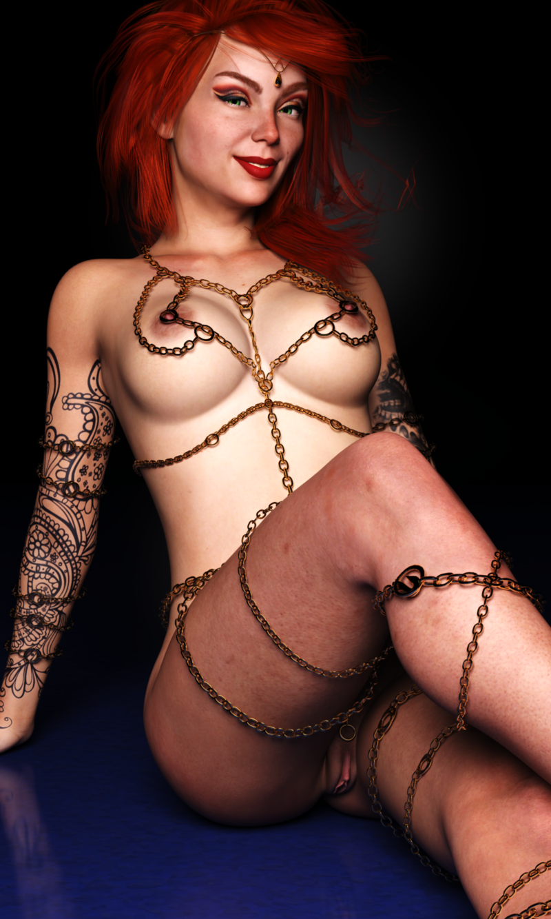 Wearing sexy chains