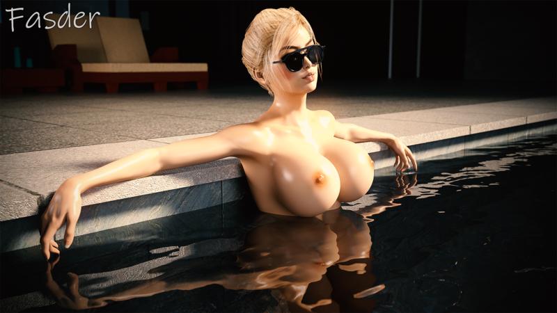 Sarah lounging in the pool.