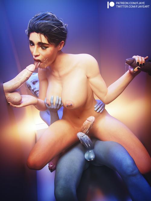 Mass Effect - Ashley and Liara at the gloryhole