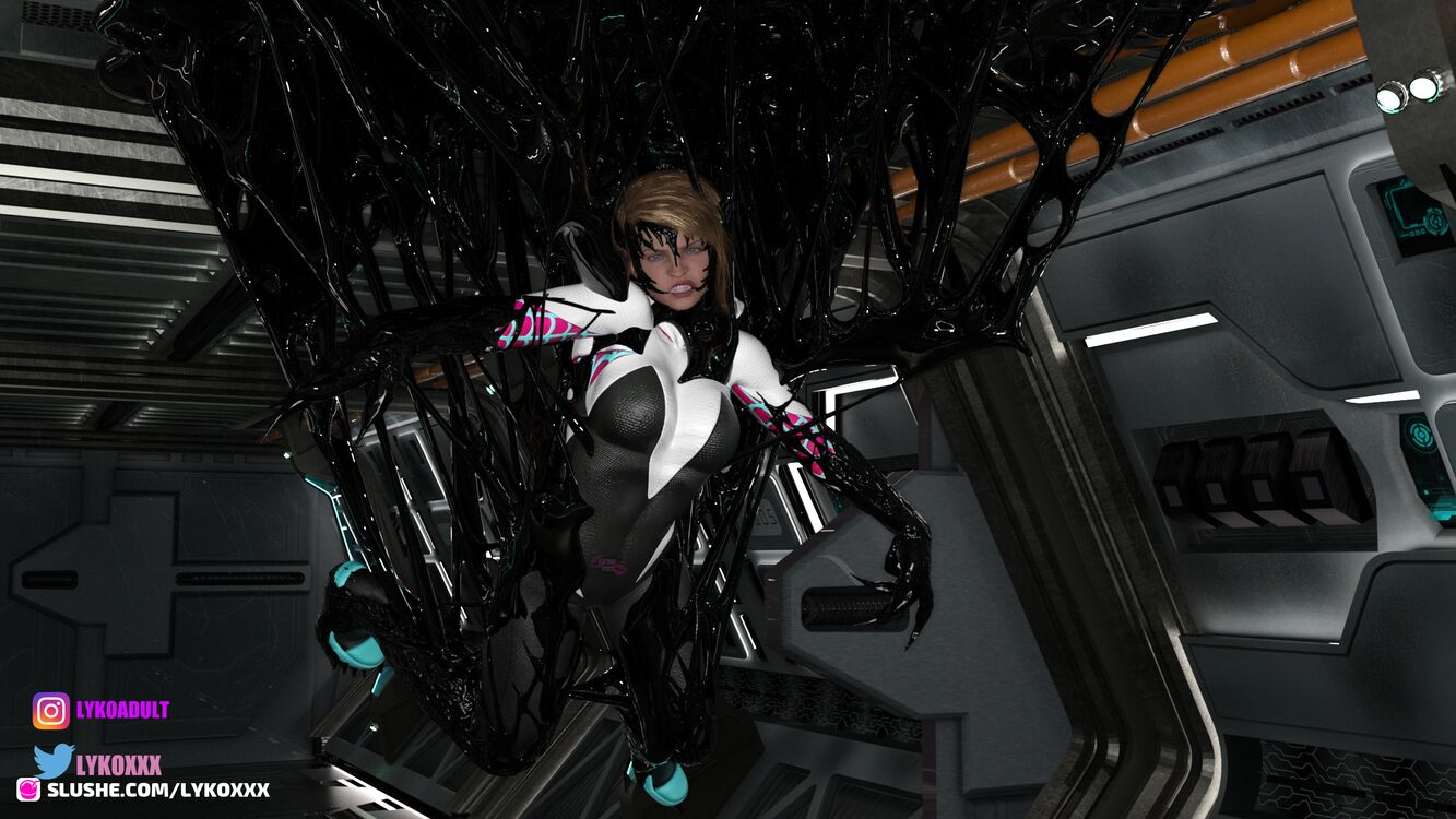 Spider Gwen captured by Symbiote