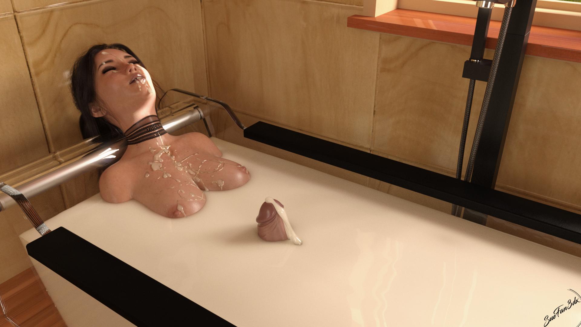 Grace enjoying a nice 'milk' bath
