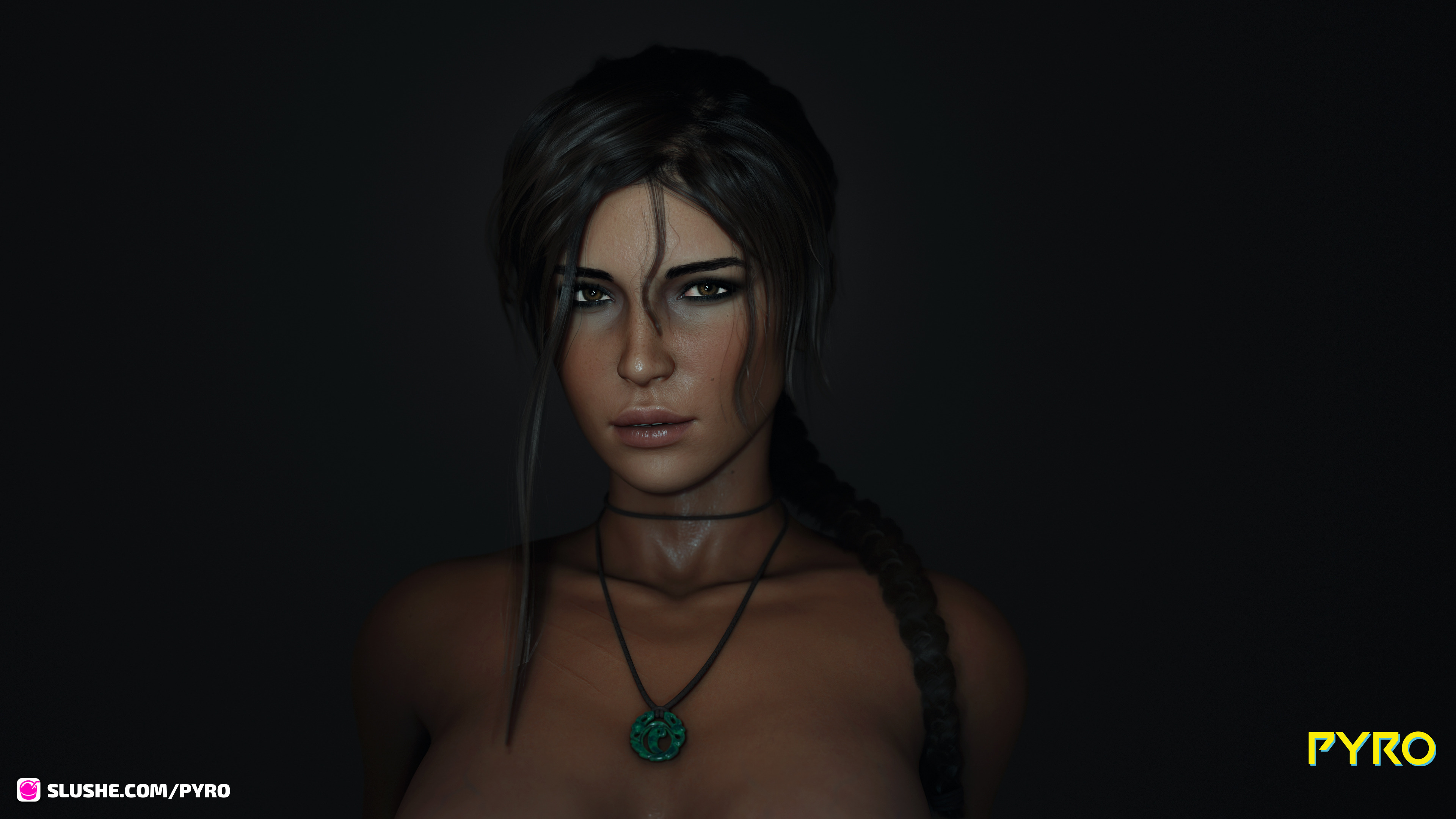 Lara puts her breasts to good use.