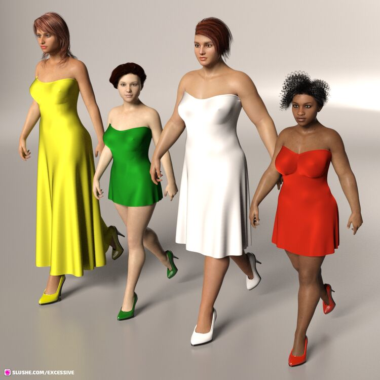 War Party (Strapless dForce Dress Collection for G8F Freebie)