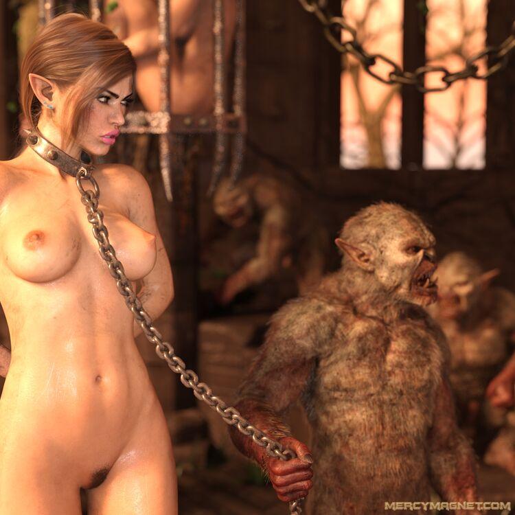 Naked elf princess in shackles