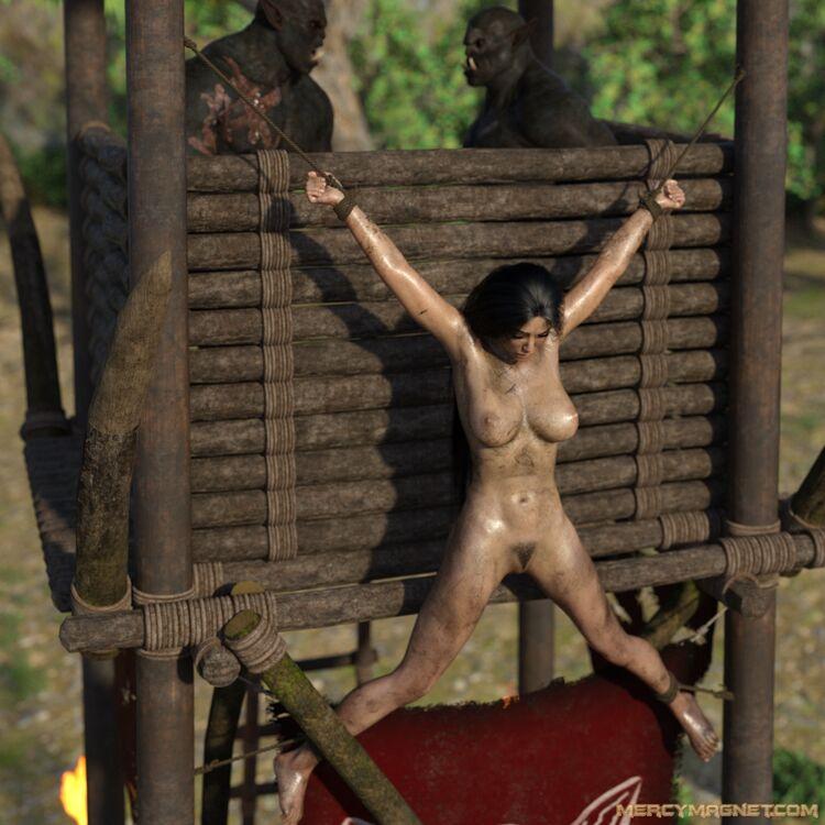Elf slave punished in orc camp