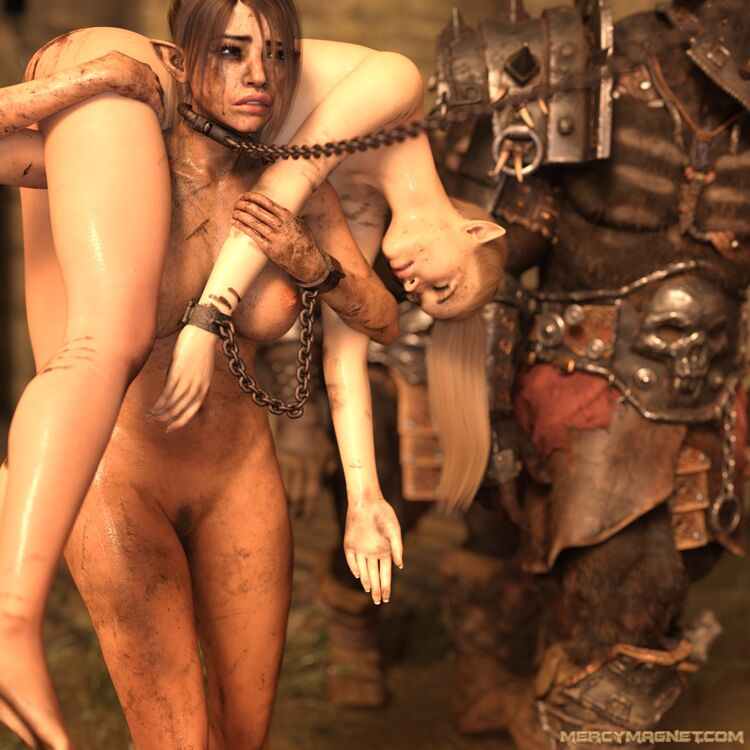 Forced to carry the freshly stripped and unconscious elf back to the orc camp