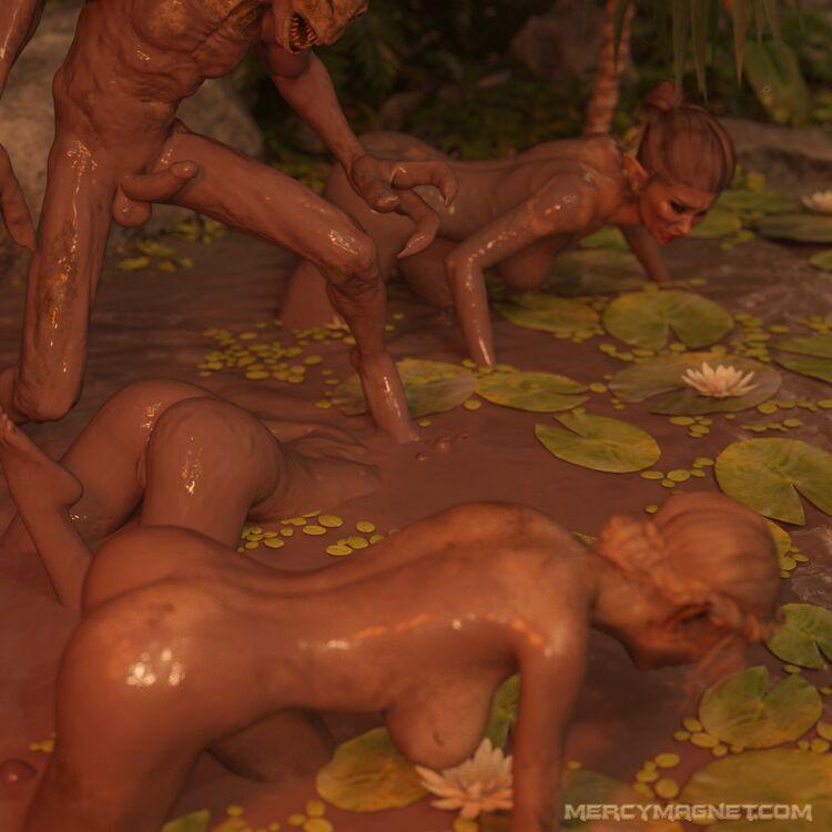 Elf slaves crawling naked through the mud