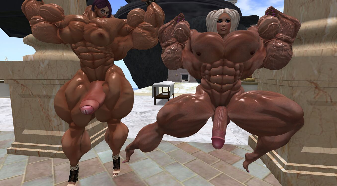 Two huge muscled dickgirls
