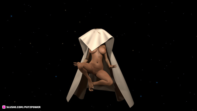 Tripping out VR  in Zero-G with a busty naked chic and a simulated sheet.