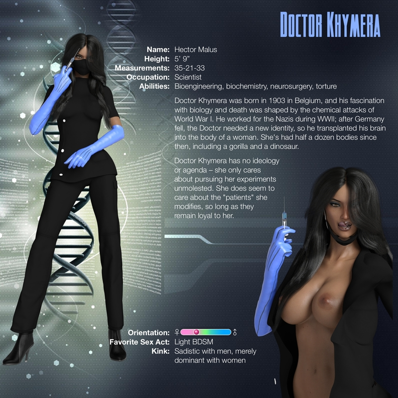 Character Sheets: Doctor Khymera and Poppy