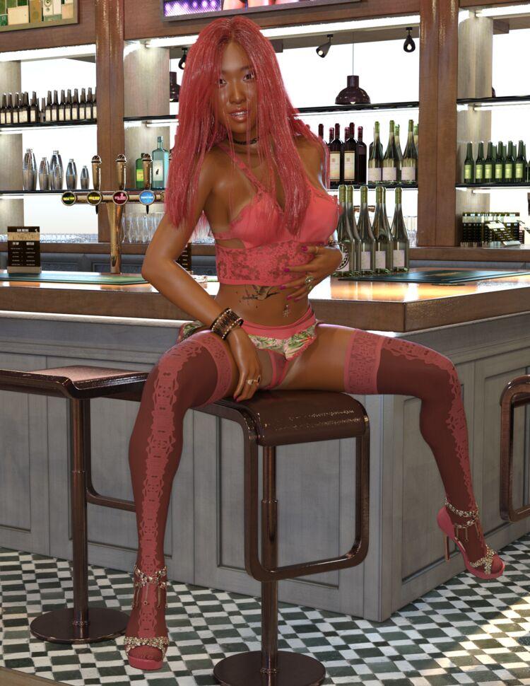 Hitomi waiting in Bar