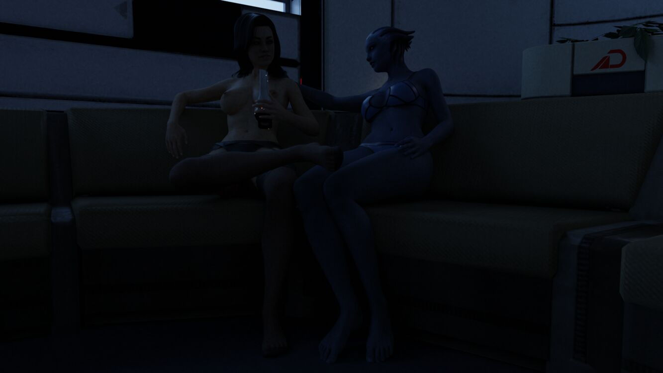 Liara and Miranda taking a break