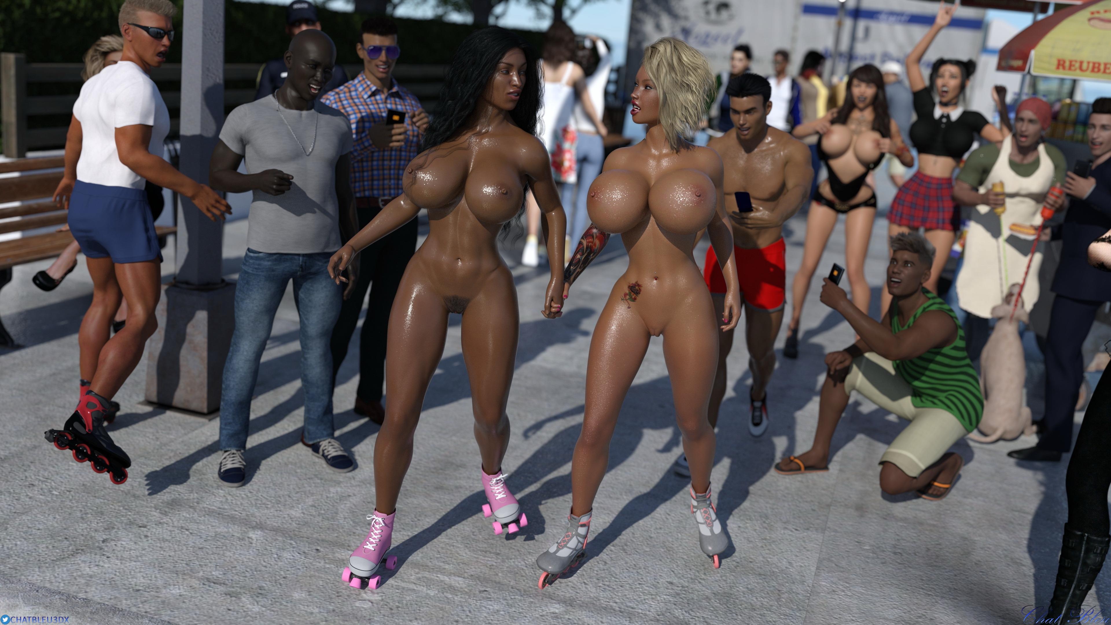 Rollers Girls In Public