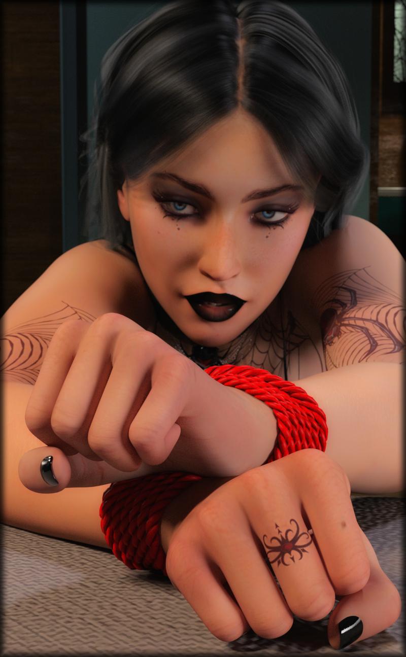 Goth Girl with Bound Wrists