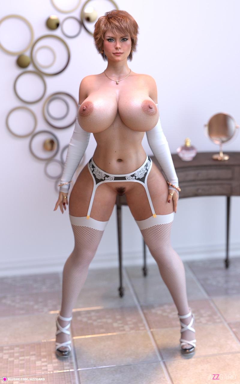 Helga Kunilicksberg in white lingerie