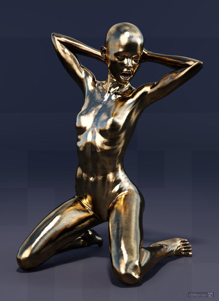 diNorian Test - Metal Statue (dA)