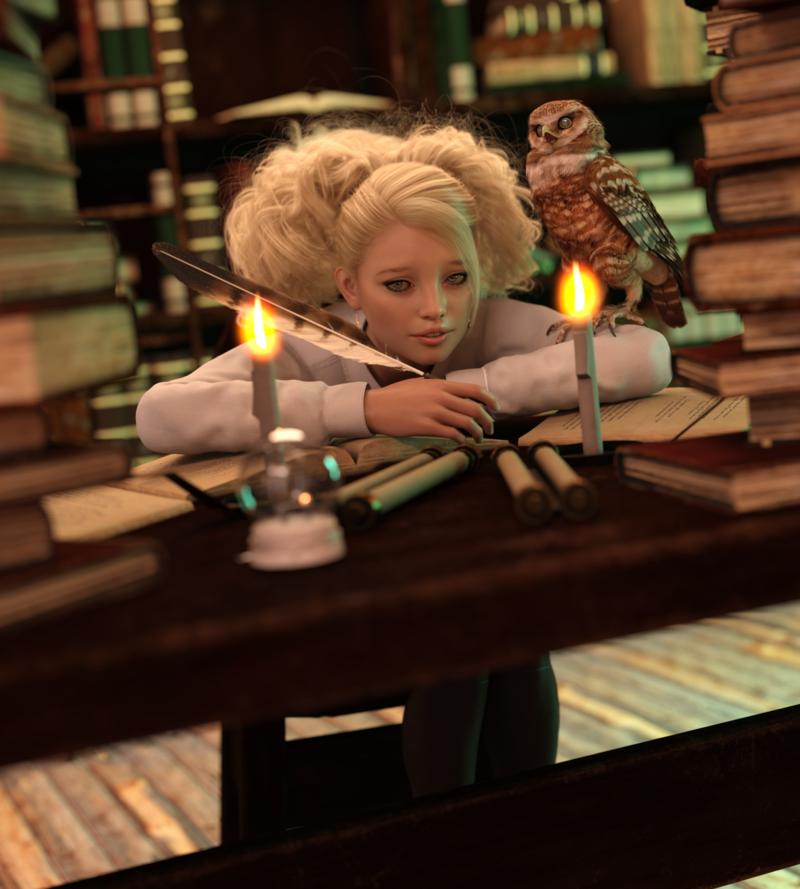 Luna Studying
