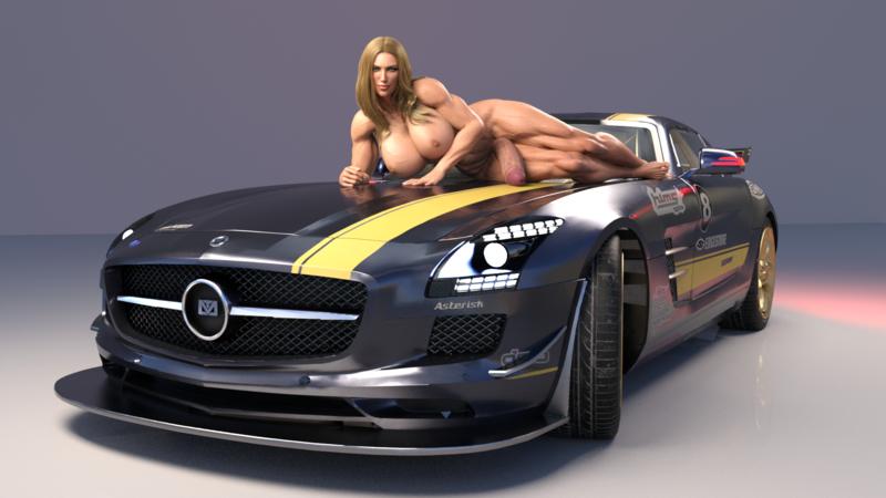 Posing on a car!