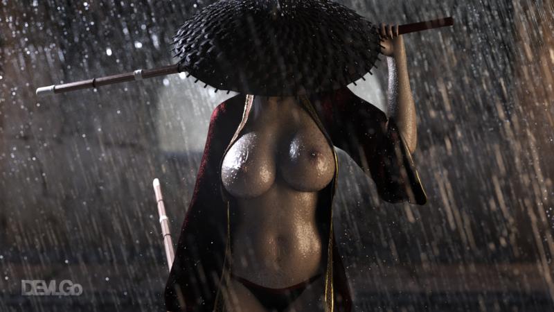 Ichiyo under the rain