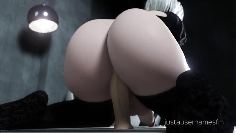 2B riding her dildo