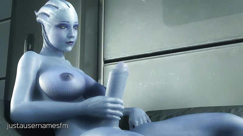 Liara stroking her cock